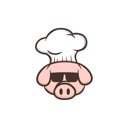 master chef pig pork bacon theme cartoon vector Foto de archivo - 111538811