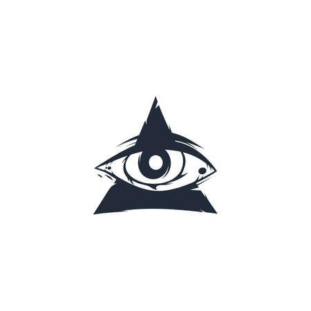 one eye triangle sign symbol vector art