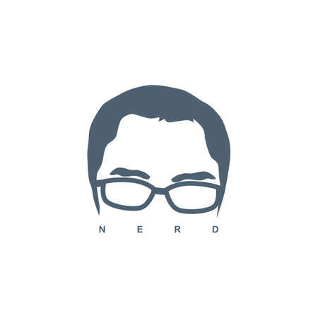 nerd guy with glasses sign symbol vector  イラスト・ベクター素材