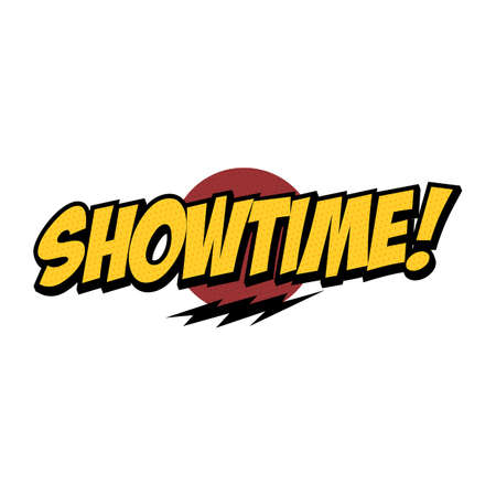 showtime text with thunder theme design