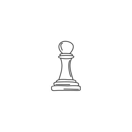 doodle sketch vector of pawn chess