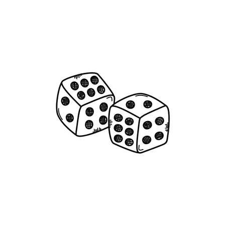 gamble dice sketch doodle vector art