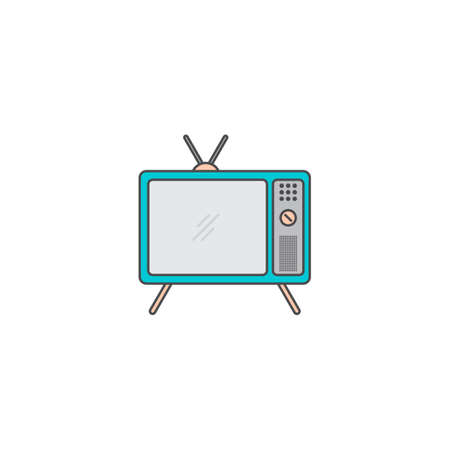 televison doodle vector cartoon art flat icon illustration
