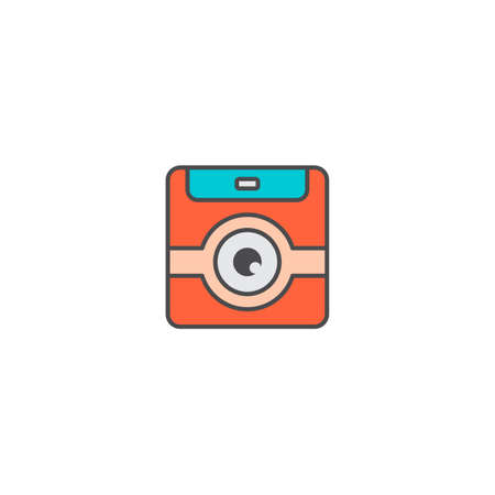 camera photography application icon flat vector art Çizim