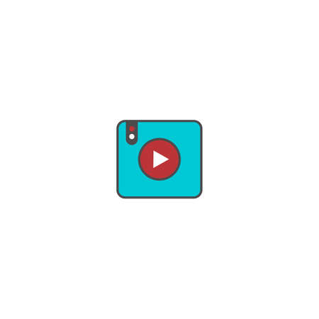 play button multimedia video audio flat icon vector art