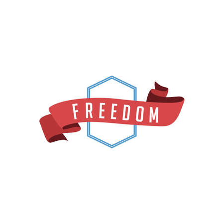 retro vintage badge label freedom vector art