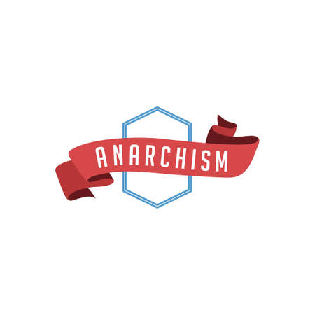 retro vintage badge label anarchism vector art Illustration