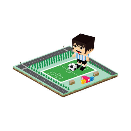 soccer league player cartoon vector art illustration Stock Illustratie
