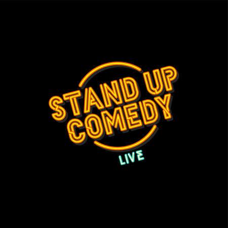 stand up comedy cartoon theme vector art illustration