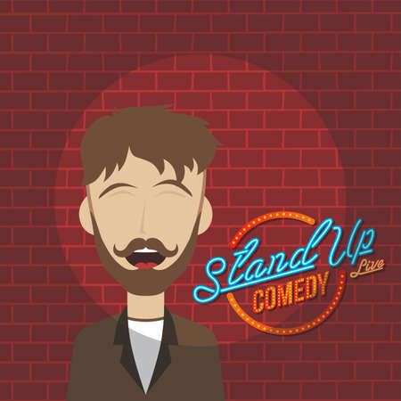 stand up comedy cartoon theme vector art illustration