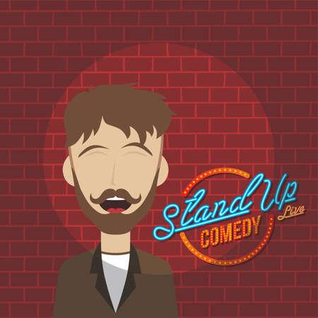 Stand up comedy tema de dibujos animados ilustración de arte vectorial
