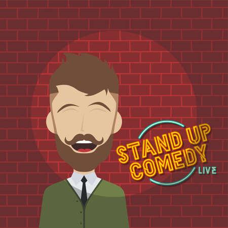 stand up comedy cartoon theme vector art illustration Ilustración de vector