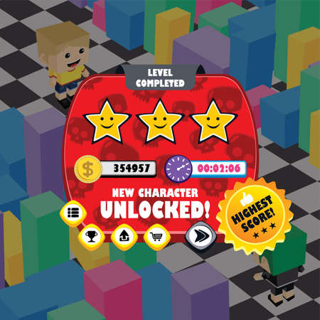 game ui menu application mobile app vector art Standard-Bild - 122566042