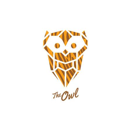owl logo sign icon symbol bird vector art illustration  イラスト・ベクター素材