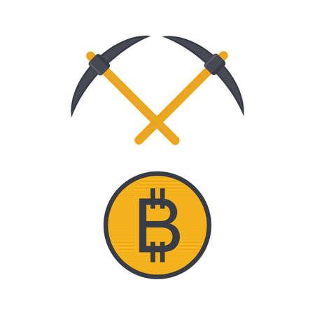 digital crypto currency money bitcoin vector art illustration