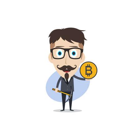 bitcoin cripto valuta tema cartone animato gentiluomo maschio uomo minatore ragazzo vettore Vettoriali