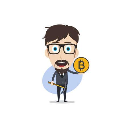 bitcoin crypto currency theme cartoon gentleman male man miner boy vector