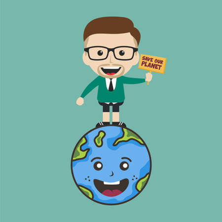 save our planet earth campaign male guy holding sign theme vector Illustration