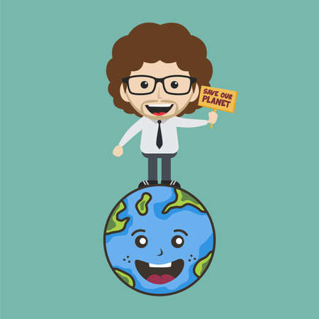 save our planet earth campaign male guy holding sign theme vector  イラスト・ベクター素材