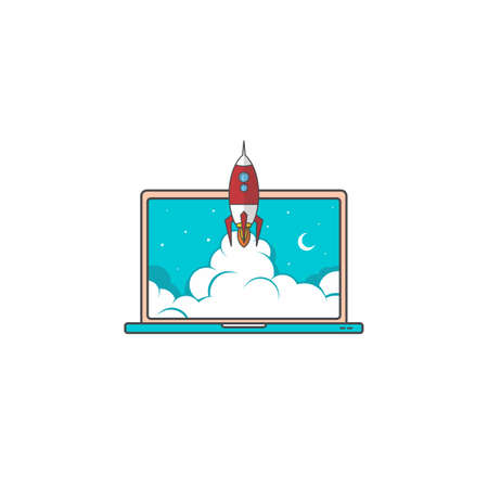 notebook laptop boost start up space rocket shuttle theme vector