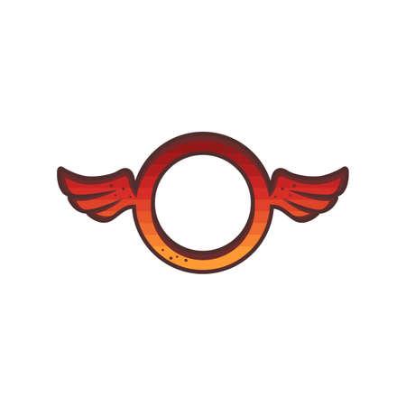 circle shape round wing theme logo sign icon vector Ilustrace