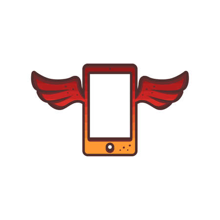 mobile hand phone red wing theme brand logo icon sign vector Ilustrace