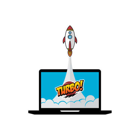 turbo space ship rocket shuttle vector art illustration