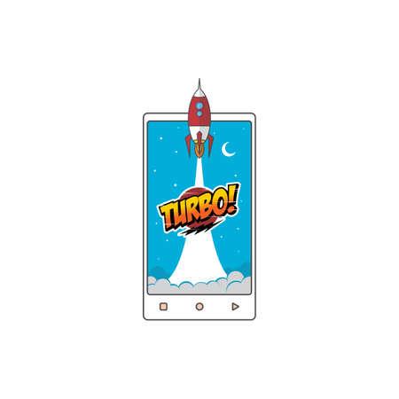 turbo space ship rocket shuttle vector art illustration