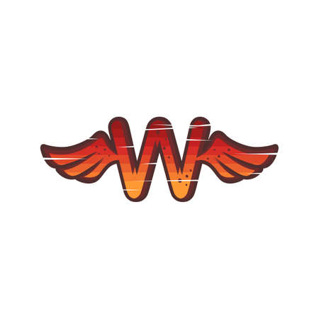 alphabet wing red sign logo brand sign icon vector