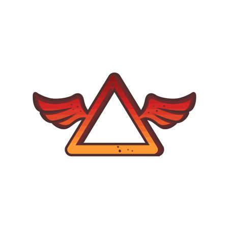 triangle red wing theme logo sign icon vector