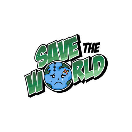 save our world planet earth campaign vector art Zdjęcie Seryjne - 130799368