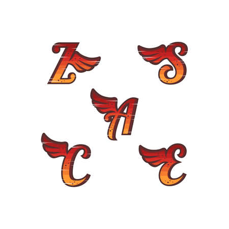 initial letter with wing vector art set collection