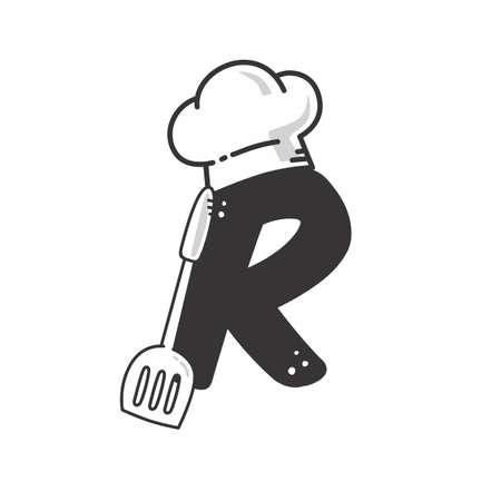 alphabet initial chef hat with spatula restaurant theme logo vector
