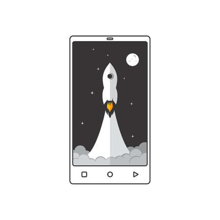hand phone mobile app speed booster space rocket vector