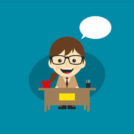 happy customer service receptionist cartoon character vector art Illustration