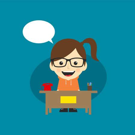 heureux, service client, réceptionniste, dessin animé, caractère, vecteur, art