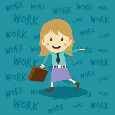 office worker on the job full task employee cartoon vector