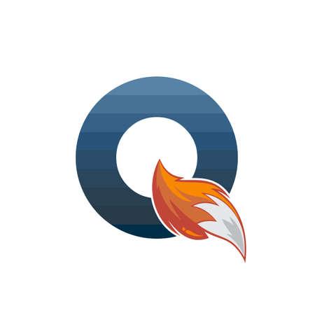 fox tail fire logo logotype alphabet initial letter design vector art illustration