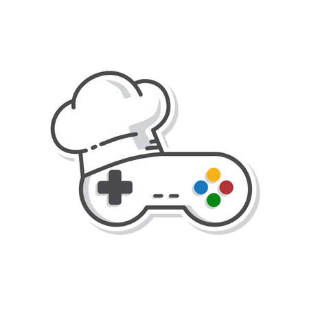 chef hat game console joystick controller vector art