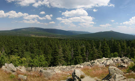 brocken: Panorama picture of mount Brocken in the national park Harz, Germany Stock Photo