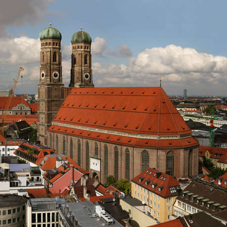 Famous church Frauenkirche in Munich, capital of Bavaria in southern Germany, seen from the town hall  Stock Photo