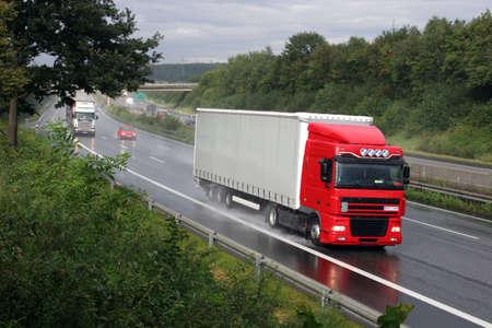 Truck on a german highway (Autobahn A-7 near Kassel)