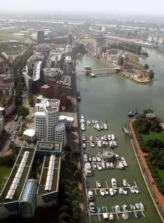 Media Harbor of Düsseldorf and river Rhine, Germany