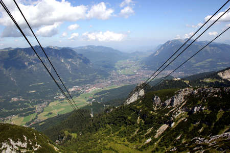 Garmisch-Partenkirchen, city of the Olympics 1936, in the german Alps, seen from the cable car to mount Alpspitze photo