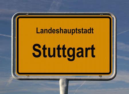 ortseingangsschild: Allgemeine Stadt Eintrag Zeichen von Stuttgart, Hauptstadt der Baden-W?rttemberg in Deutschland  Lizenzfreie Bilder