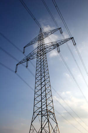 Power line in front of blue sky Stock Photo - 4112276
