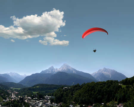 berchtesgaden: Very beautiful landscape in the german Alps with the mountains Watzmann and Hochkalter and the idyllic village of Berchtesgaden