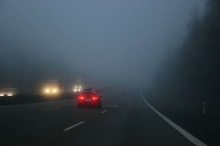 Fog on a german highway in winter photo