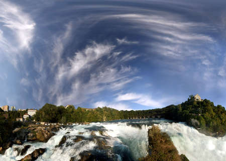 Rhine falls near Schaffhausen. 200° panoramic picture of the biggest European waterfall in Switzerland. On the right side Castle Lauffen.