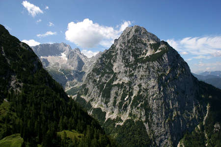 zugspitze mountain: German Alps - Zugspitze, Germanys highest mountain, the H�llental valley and the H�llentalferner glacier, the most popular route to ascent the Zugspitze